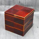 運動会・行楽に!木製3段重箱越前漆器市松白檀三段重6寸5〜6人用日本製
