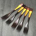 木製 フォーク 漆 金箔フォーク 5本セット 溜 訳あり木 き 金箔 きんぱく ふぉーく うるし おしゃれ かわいい 五本 5…