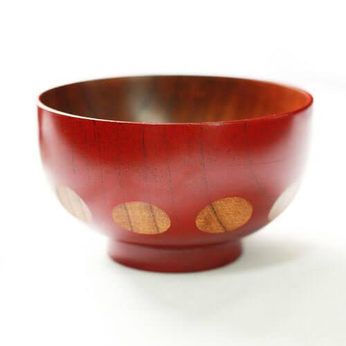 クーポン配布中 お椀 木製汁椀 ドット 赤・茶 全2種 約11.5cm おしゃれ おせち 迎春 お正月