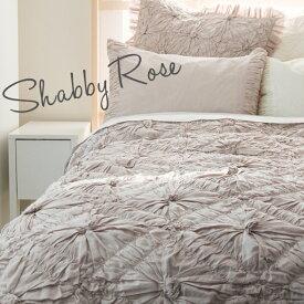 掛け布団カバー ベッドカバー セミダブル 【Shabby Rose】 ピンク 花柄 刺繍 インド綿100% おしゃれ かわいい 海外
