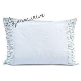 枕カバー ピローケース 50×70 【Aquamarine】 ブルー 刺繍 インド綿100% おしゃれ かわいい