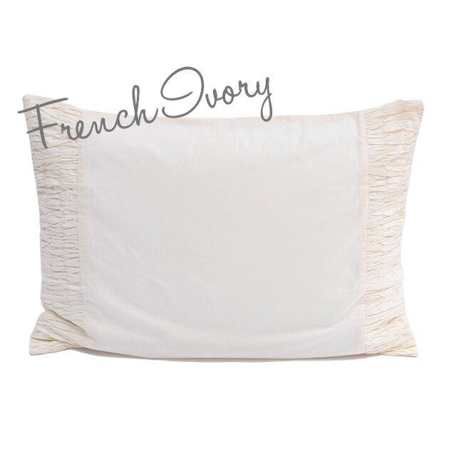 枕カバー ピローケース 50×70 【French Ivory】 アイボリー ホワイト 刺繍 インド綿100% おしゃれ かわいい