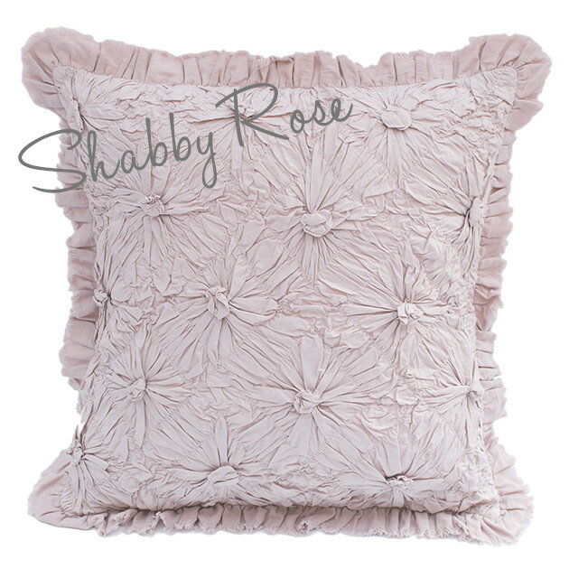 クッションカバー 60×60 シャムカバー 【Shabby Rose】 ピンク 花柄 フリル 刺繍 インド綿100% おしゃれ かわいい
