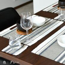 テーブルマット8点セット(ランチョンマット4枚&コースター4枚)リブ編みインド綿100%選べる3色(グリーン系/ラベンダー系/グレー系)マルチカラーストライプおしゃれ