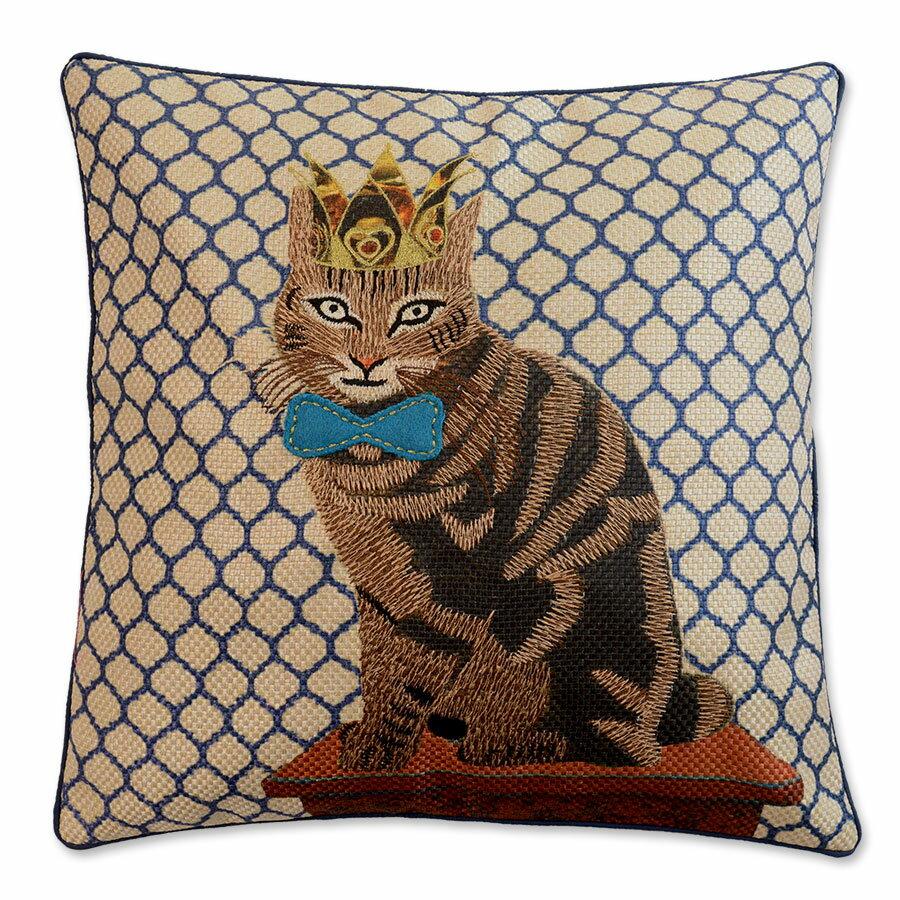 クッションカバー 45×45cm 【キティコレクション】 刺繍 選べる3型 (ショートヘアー / クイーン / キング) 猫柄 猫グッズ 猫雑貨 アニマル おしゃれ かわいい