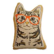 クッション猫型【キティコレクション】刺繍選べる2型(ショートヘアー/ペルシャ)中材入りアニマルクッション猫グッズ猫雑貨おしゃれ