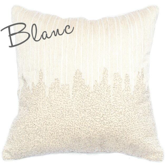 クッションカバー 60×60 シャムカバー 【Blanc】 ホワイト 刺繍 おしゃれ かわいい