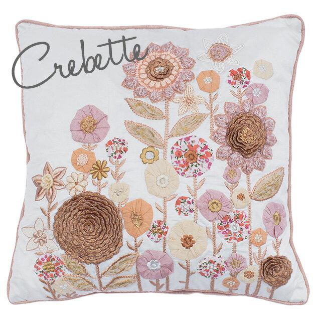 クッションカバー 45×45cm 【Crevette】 刺繍 花柄 おしゃれ かわいい