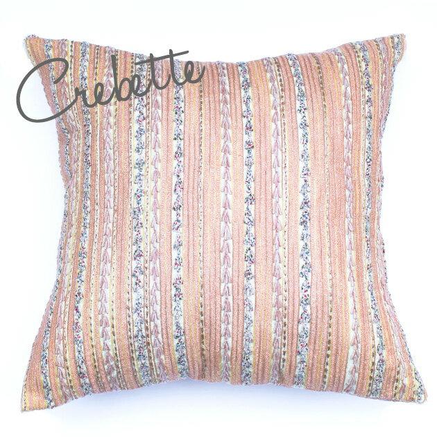 クッションカバー 60×60 シャムカバー 【Crevette】 ピンク 刺繍 おしゃれ かわいい