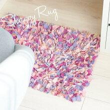 ラグマット【ShaggyRug】68×46ピンク系マルチカラーフロアマット玄関マットハンドメイドおしゃれかわいい