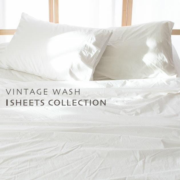 シーツ 3点セット セミダブル 【Vintage Wash】 インド綿100% フラットシーツ & ボックスシーツ (マットレスカバー) & ピローケース (枕カバー) 選べる2色 (ホワイト / ライトブラウン) おしゃれ かわいい