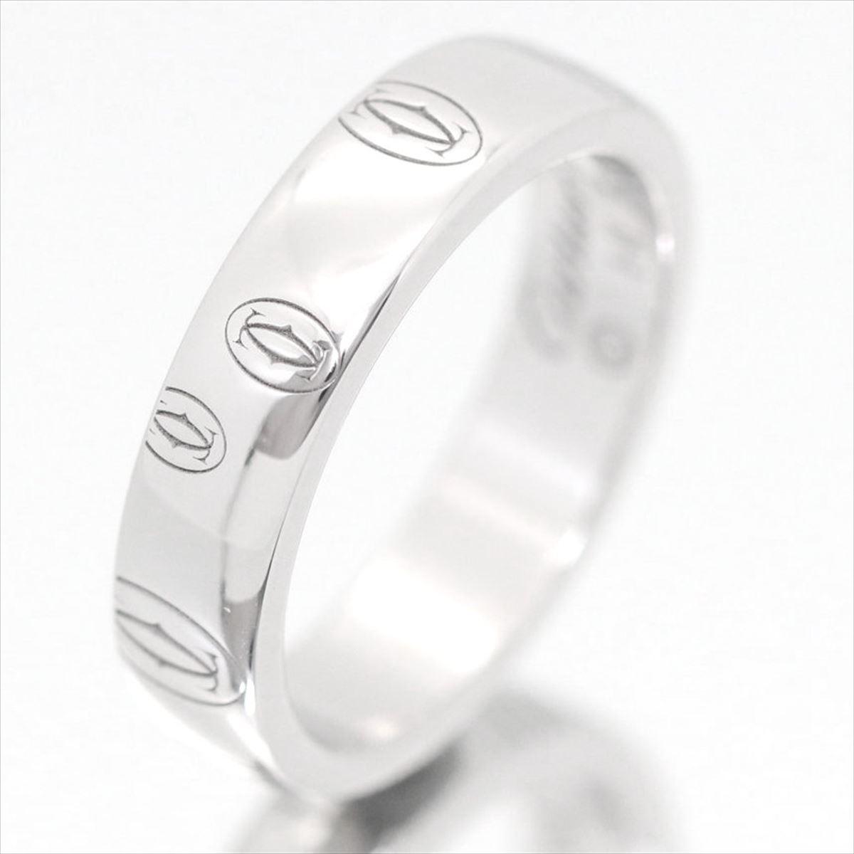 【新古品】カルティエ/Cartier / ジュエリー 指輪 ハッピーバースデー ロゴリング K18WG 750 ホワイトゴールド B4050900 / 廃番 シルバー
