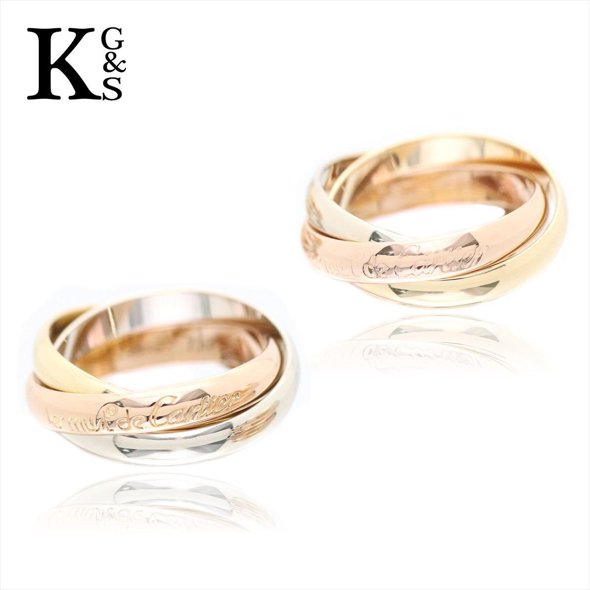 【新古品】【母の日 プレゼント】【セット販売】【4〜19号】カルティエ/Cartier / ペアリング / トリニティリング 3連 / イエローゴールド ホワイトゴールド ピンクゴールド YG/WG/PG K18 / レディース メンズ 指輪 B4086100
