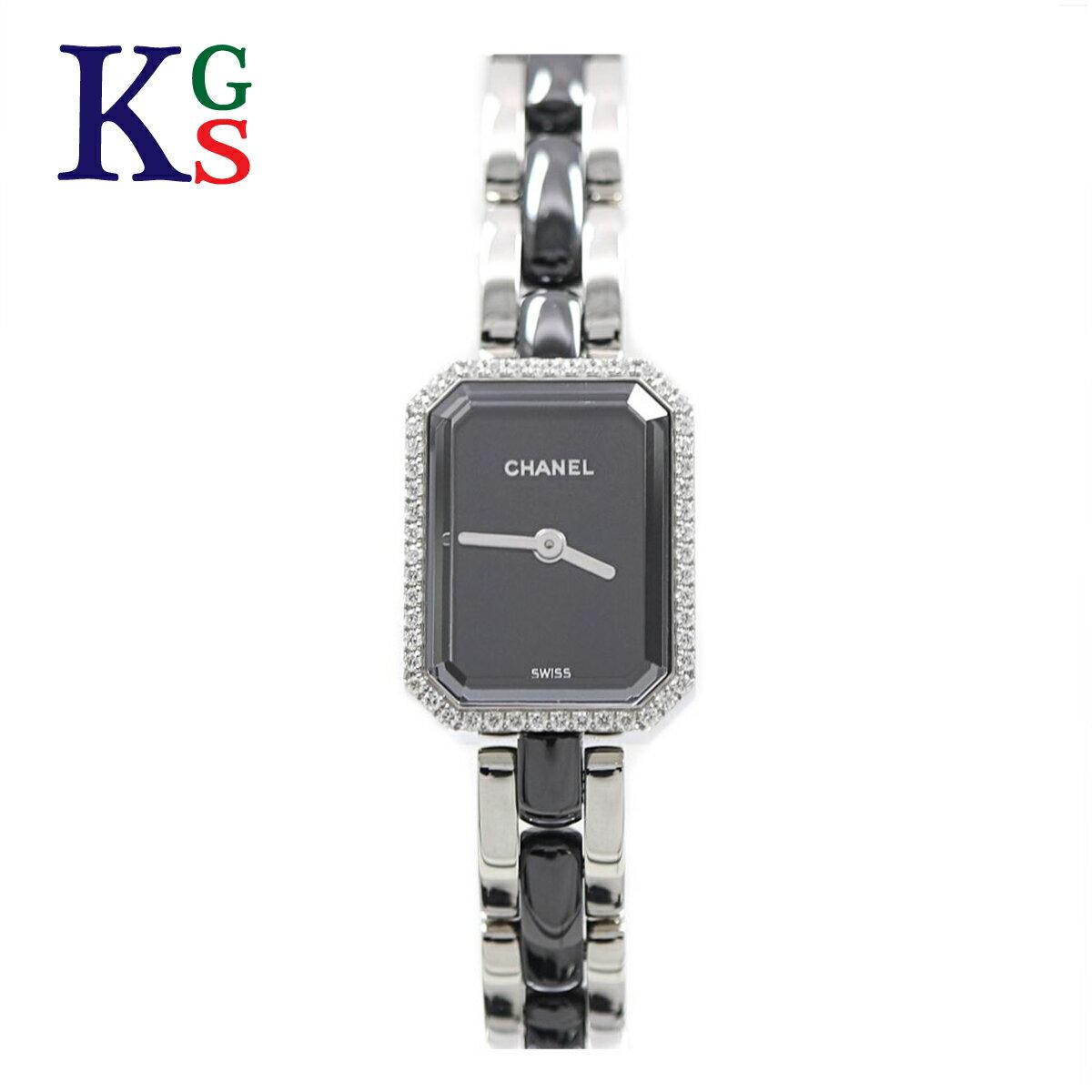 【新古品】シャネル/CHANEL / 腕時計 レディース ブラック×シルバー ベゼルダイヤ / プルミエール / セラミック×ステンレススチール H2163 クォーツ