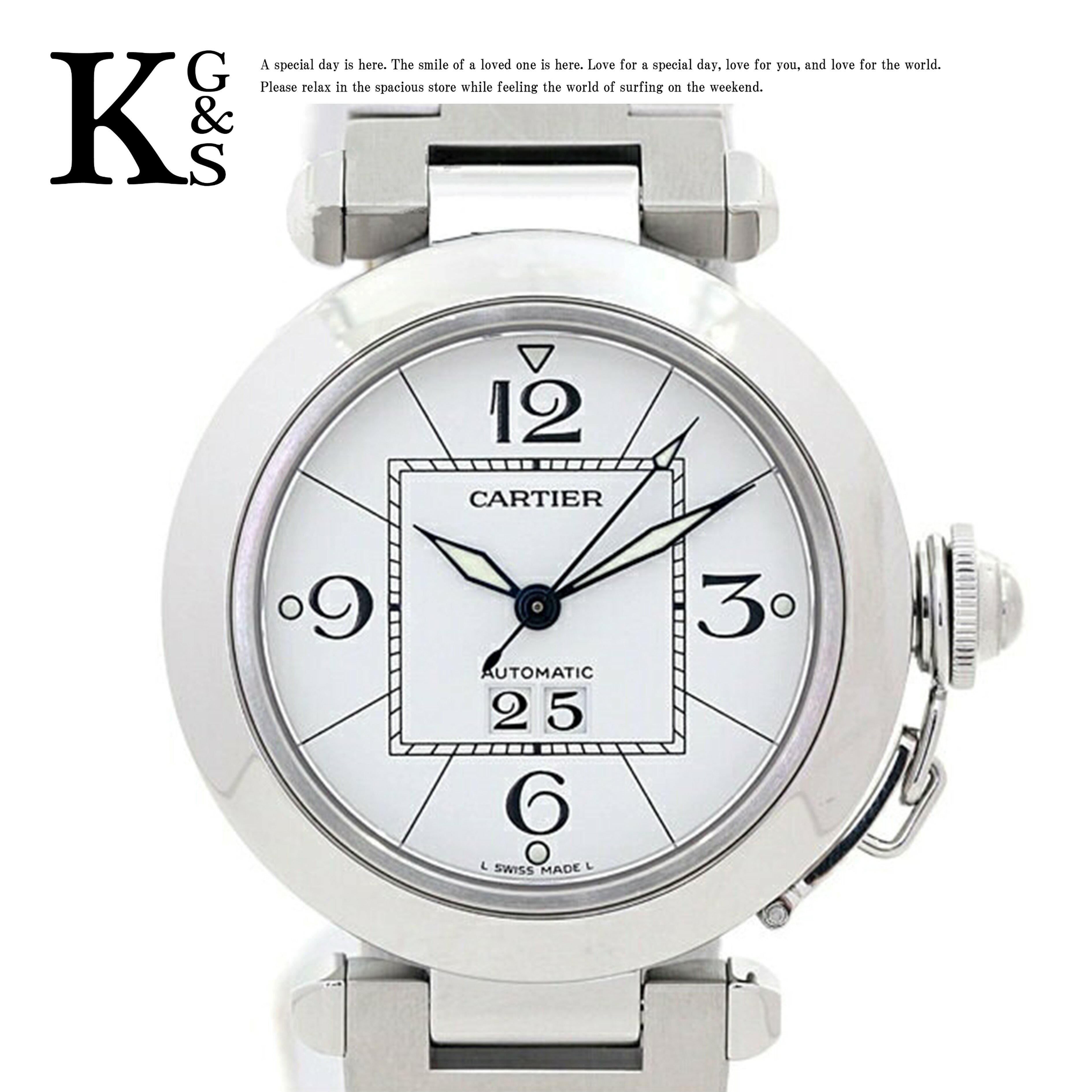 【新古品】カルティエ/Cartier レディース 腕時計 パシャC 35mm ビッグデイト オートマチック 自動巻き ホワイト文字盤×シルバー ステンレススチール W31055M7