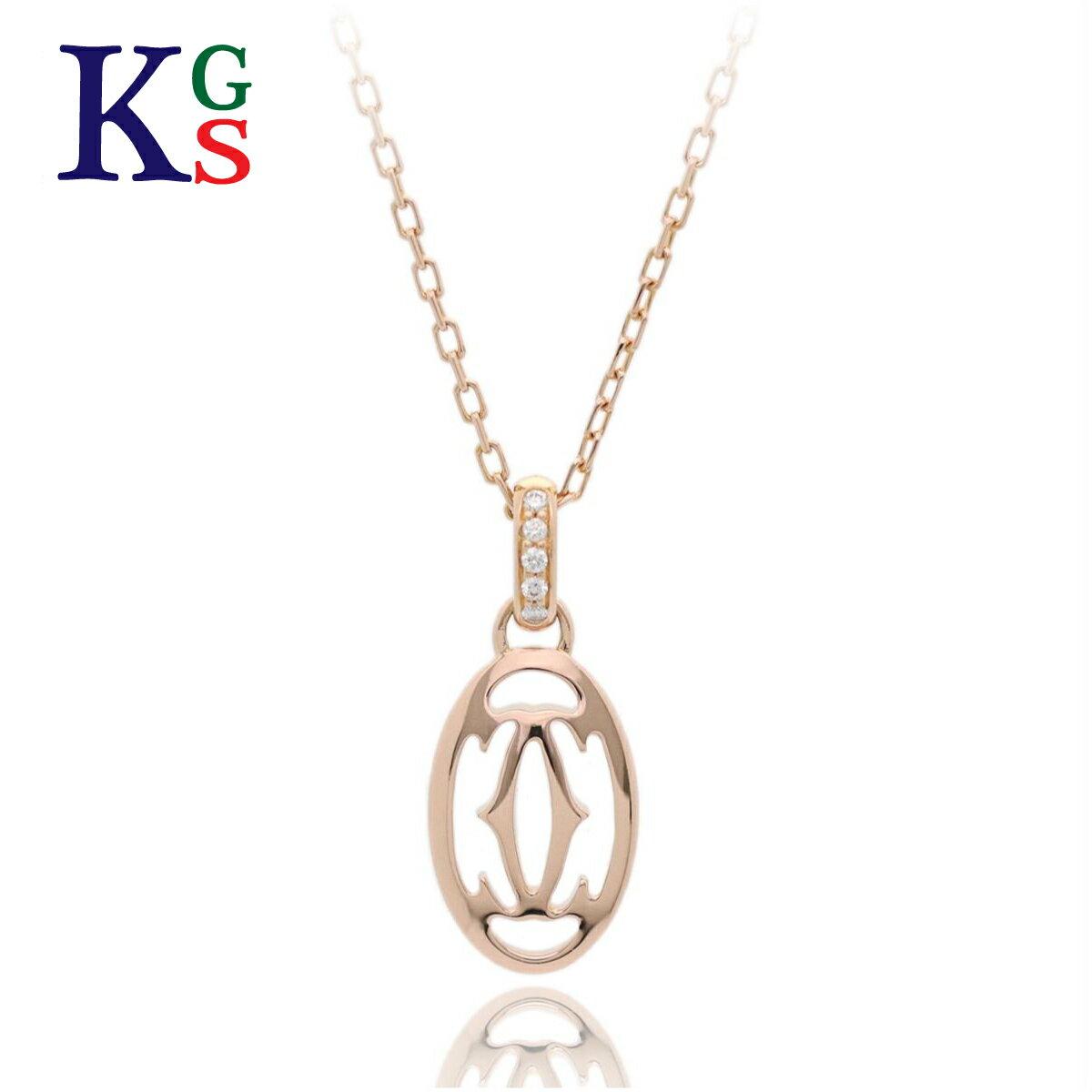 【新古品】カルティエ/Cartier / ドゥカルティエ ドゥーブルC ロゴネックレス レディース K18PG ピンクゴールド ブリリアントカット 5Pダイヤモンド 0.02ct B7219200