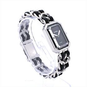 【新古品】シャネル/CHANELプルミエールMシルバーH0451レディース腕時計シルバーブラッククウォーツレザー【中古】