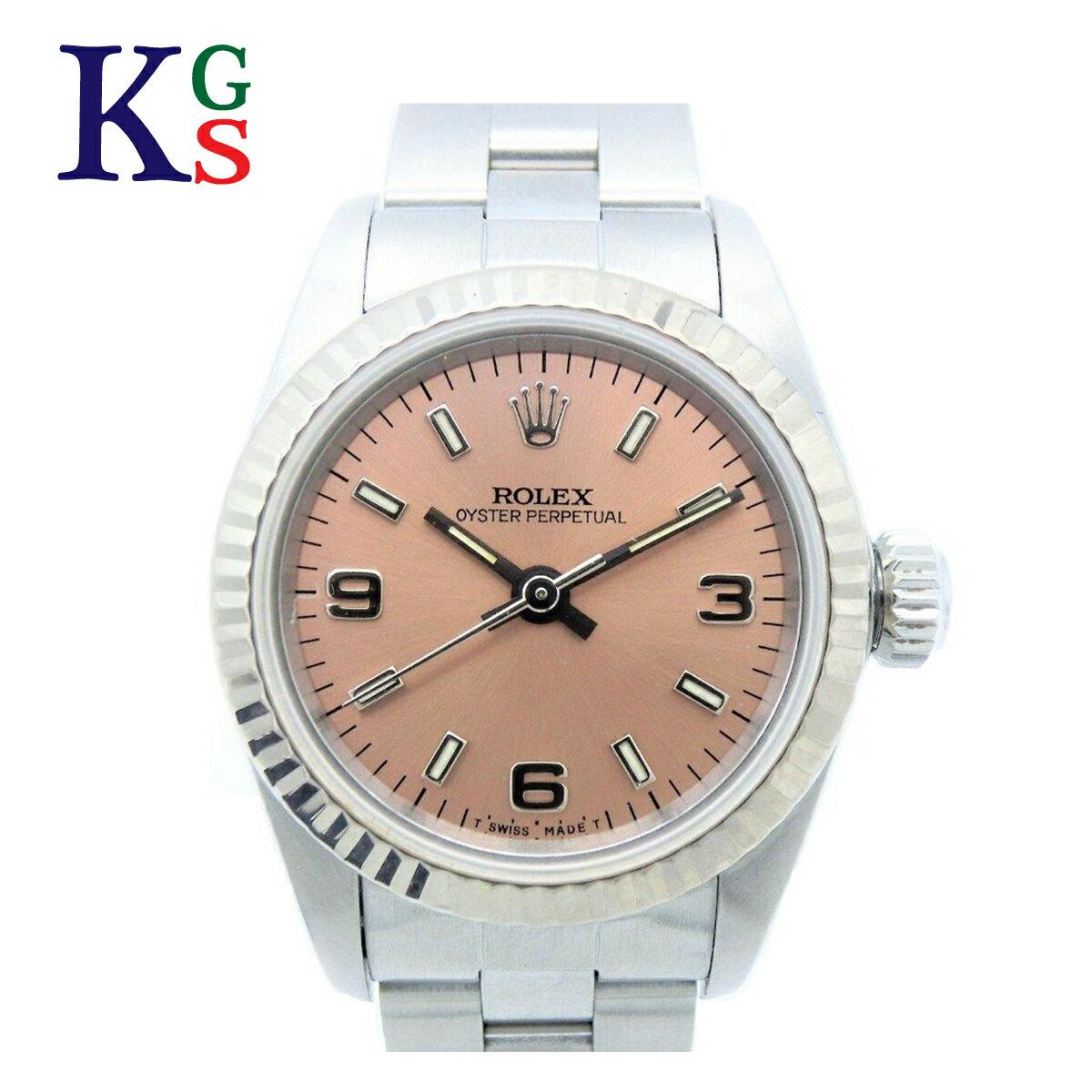【新古品】ロレックス/ROLEX レディース 腕時計 オイスターパーペチュアル 67194 ピンク文字盤 自動巻き ステンレススチール×ホワイトゴールド