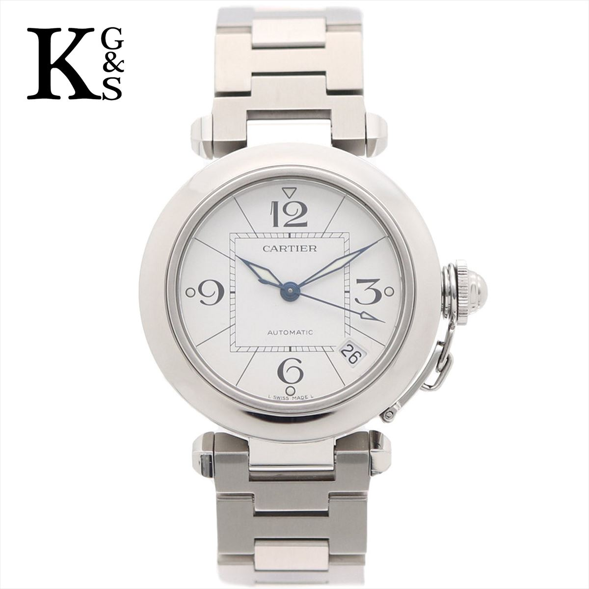 【新古品】カルティエ/Cartier ボーイズ 腕時計 パシャC シルバー×ホワイト文字盤 ステンレススチール スモールデイト 自動巻き W31074M7