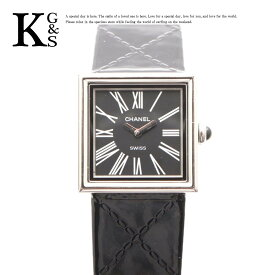【ギフト品質】シャネル/CHANEL レディース マドモアゼル 腕時計 シルバー×ブラック文字盤 SS×レザーベルト H0820 クオーツ 1015