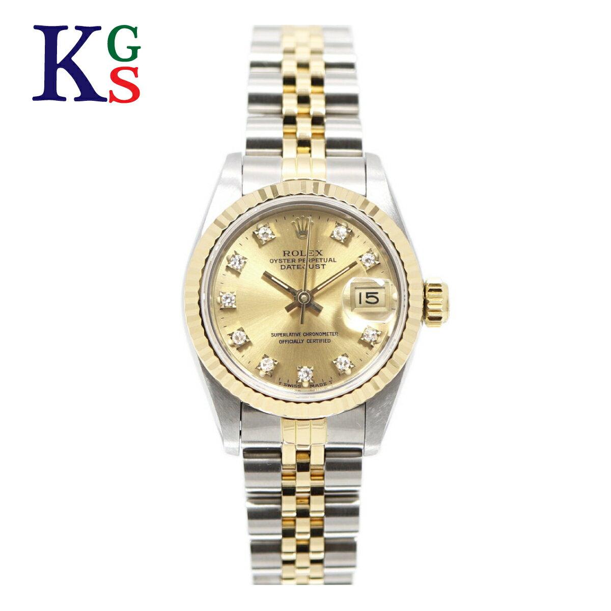 【新古品】ロレックス/ROLEX レディース 腕時計 デイトジャスト シルバーxゴールド コンビ 10Pダイヤモンド ステンレススチールxK18YG 69173G 自動巻き