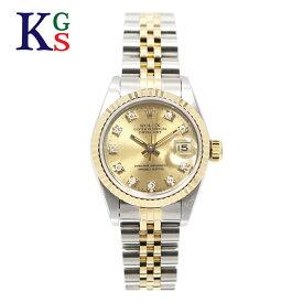 【ギフト品質】【SPECIAL梱包】ロレックス/ROLEX レディース 腕時計 デイトジャスト シルバーxゴールド コンビ 10Pダイヤモンド(旧台座) ステンレススチールxK18YG 自動巻き 69173G