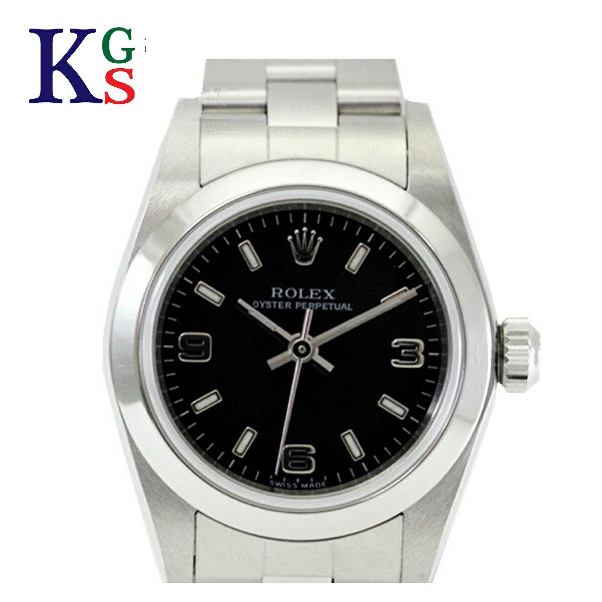 【新古品】ロレックス/ROLEX レディース 腕時計 オイスターパーペチュアル アラビアインデックス ブラック文字盤 シルバー 76080 自動巻き
