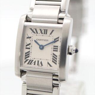 【新古品】カルティエ/Cartierレディース腕時計タンクフランセーズSMホワイト文字盤ステンレススチールクオーツW51008Q3