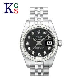 【サステナブル&ギフト品質】ロレックス/ROLEX レディース 腕時計 デイトジャスト ブラック文字盤 10Pダイヤ ホワイトゴールド K18WG×ステンレススチール 自動巻き オートマチック 179174G 1015