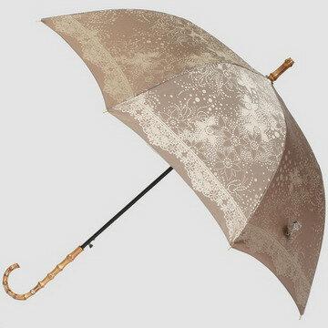 【送料無料】おしゃれな女性用雨傘〜高級傘甲州織ジャガード織のドットフラワー(モカ)が上品なレディース雨傘長です☆プライベートブランド:kirie(キリエ)〜