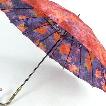 【送料無料!】レディース雨傘長:両面転写プリントの花柄がおしゃれで、16本骨が上品☆趣きある造りの日本製!新田商店【RCP】バッグ・小物・ブランド雑貨 ファッション雑貨・小物 傘 女性用[傘一番館]05P01Oct16