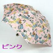【レビュー書いて5%OFF&送料無料】レディース雨傘折ミニ〜ネコの絵がかわいい「絵本ミックス」☆猫ブランドManhattaner's(マンハッタナーズ)日本製女性用折りたたみ傘(3段式