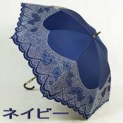 【レビューで特別価格&送料無料!】レディース日傘長:オーガンジーフラワー&ブロック刺繍がおしゃれな一級遮光遮熱晴雨兼用日傘長でUVカット
