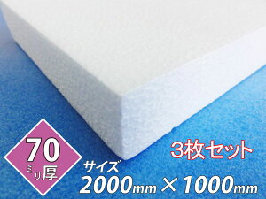 発泡スチロール 板 ボード 断熱材 レフ板 パネルボード ディスプレイ 節電 2000×1000×70 送料無料 3枚セット