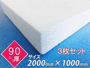 発泡スチロール 板 ボード 断熱材 レフ板 パネルボード ディスプレイ 節電 2000×1000×90 送料無料 3枚セット