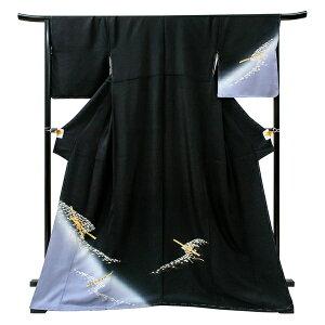 付下げ 訪問着 仕立て上がり 京友禅 袷 礼装用 フォーマル着物 新品 正絹 販売 購入 結婚式 披露宴 入学式 卒業式 仕立て済み 黒色 笛 仕立て込み h-366