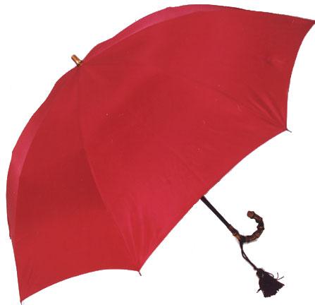 WAKAO【名入れOK】6月中旬仕上◆ラミア◆センチュリーレッド(二段式折畳傘) ワカオ「赤い傘」シリーズ※三本映っている写真の一番下の折たたみ傘ですネームプレート付きタッセルのオプションがございます