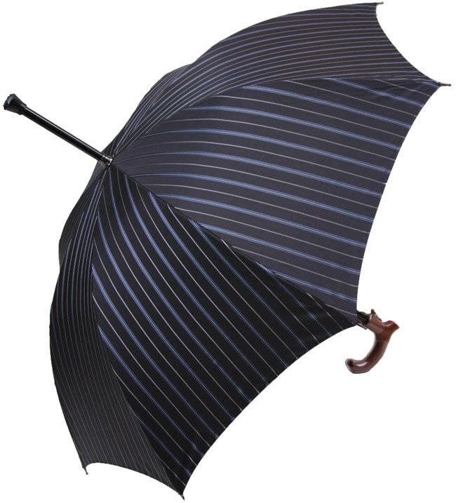 ★素敵なステッキ傘紳士杖傘しましまプレミアム【ブルーライン】全長約88.5cm/サイズカット加工無料/名入れOK/修理OK黒ベースに ブルー/シルバーのコンビネーションラインとグレイの細いライン