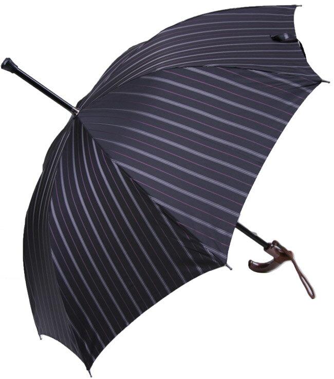 ★素敵なステッキ傘★紳士杖傘しましまプレミアム【グレイライン】【送料無料】(全長約88.5cm)サイズカット加工無料黒ベースに グレイ濃淡のコンビネーションラインとパープルの細いライン