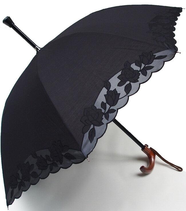 ★素敵なステッキ傘婦人つえ傘【Mサイズ】ばらあど(ブラック)【送料無料】親骨55cm/全長約78cm/UVカット晴雨兼用 ※とも生地の外袋はございません※小さいほうのMサイズのつえ傘です