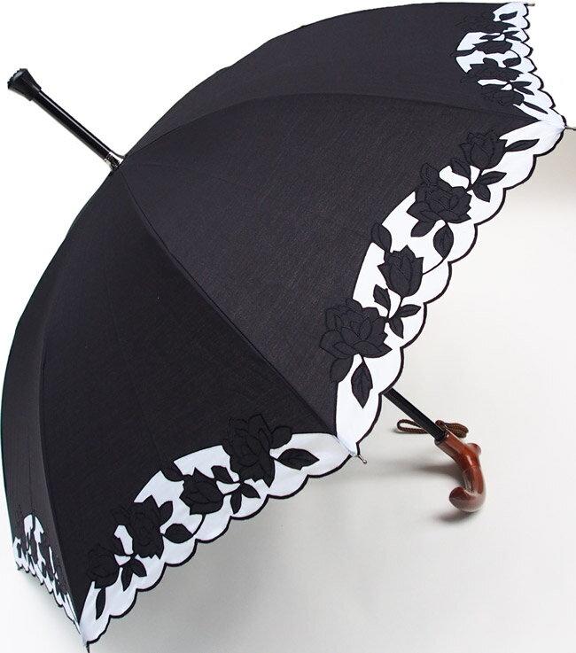 ★素敵なステッキ傘婦人つえ傘【Mサイズ】ばらあど(ブラック&ホワイト)【送料無料】親骨55cm/全長約78cm/UVカット晴雨兼用※とも生地の外袋はございません※小さいほうのMサイズのつえ傘です
