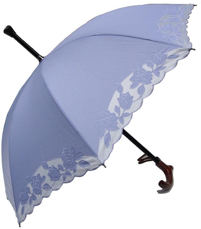★素敵なステッキ傘婦人つえ傘【Mサイズ】ばらあど(ラベンダー)【送料無料】親骨55cm/全長約78cm/UVカット晴雨兼用 ※とも生地の外袋はございません※小さいほうのMサイズのつえ傘です