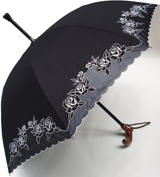 ★素敵なステッキ傘婦人杖傘【L】エルばらあど(ブラック)【送料無料】親骨60cm/全長約84cm/UVカット晴雨兼用 ※とも生地の外袋はございません※大きいLサイズのつえ傘です