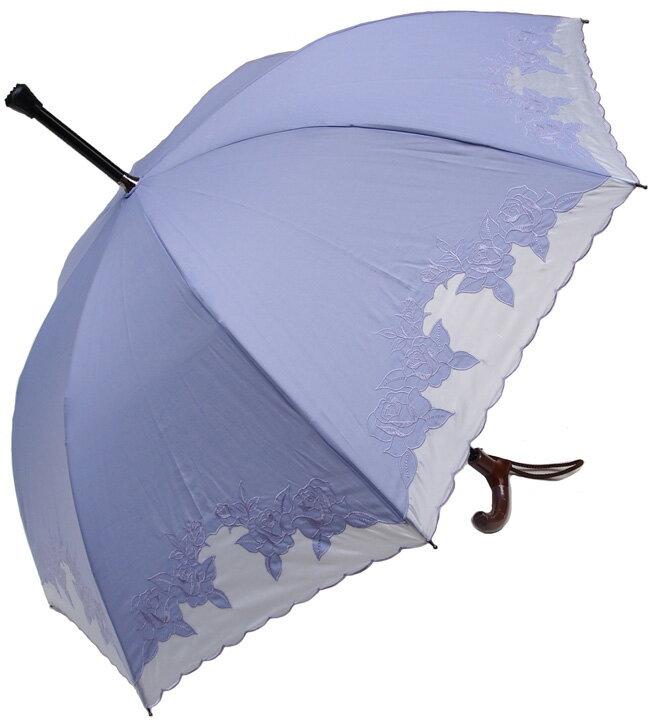 ★素敵なステッキ傘婦人杖傘【L】エルばらあど(ラベンダー)【送料無料】親骨60cm/全長約84cm/UVカット晴雨兼用 ※とも生地の外袋はございません※大きいLサイズのつえ傘です