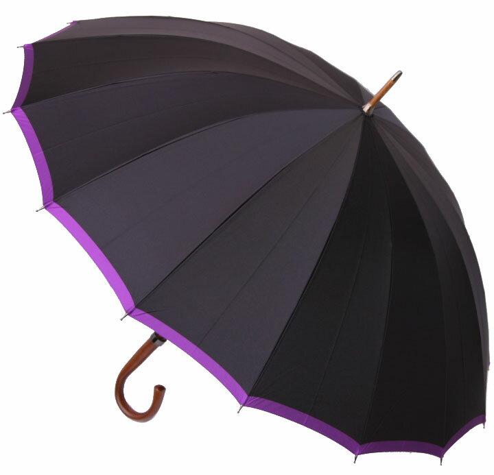 ■前原光榮クラシカル16フォーメン ( ブラック&パープル)「皇室御用達」前原光榮商店 紳士雨傘お名前彫りなしは即納できますお名前彫り有の場合は8/1(水)仕上がり予定心斎橋みや竹オリジナル仕様