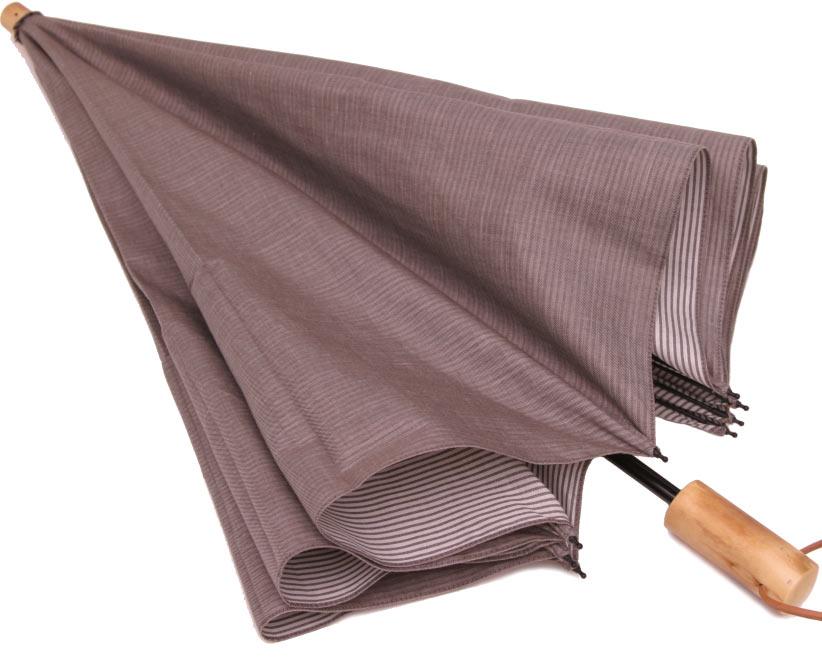 お洒落な男の日傘◆二段折傘 男性用日傘◆デュアルシャンブレー(シルキーブラウン)