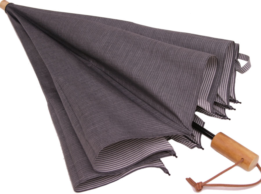 お洒落な男の日傘◆二段折傘 男性用日傘◆デュアルシャンブレー(レガシー グレィ )