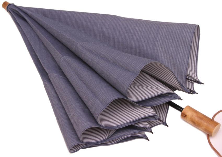 WAKAOワカオお洒落な男の日傘◆二段折傘 男性用日傘◆デュアルシャンブレー(ブルー・オンディーヌ)