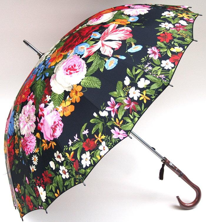 ◆洋傘のエイト◆セルメス加工(丸張り)で花園を表現した美しい傘カトリーヌの庭