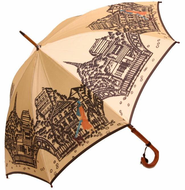 ◆エッフェル塔(長傘) ベージュモンブランヤマグチ ほぐし織り 婦人雨傘